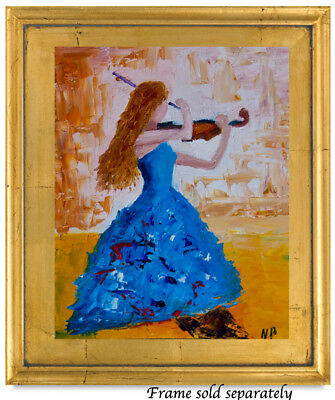 Girl With Violin Modern Natasha Petrosova Original Oil Painting Impressionism 9