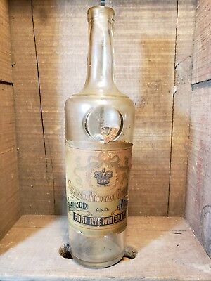 Grand Royal Crown - Antique Whiskey Bottle W/ Paper Label - 1860-1880