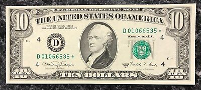 1988-A $10 Ten Dollar Star Note Frn Federal Reserve Note ~ Unc Condition! Nr!