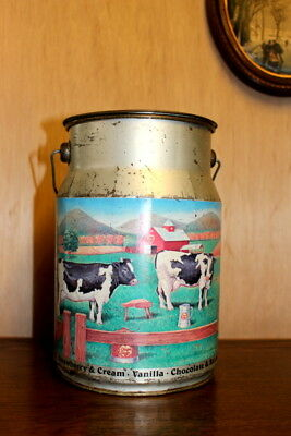 Antique French Vintage  Milk Decorated Metal Tin  - Sale