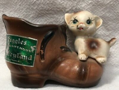 Vintage Ruggles China and Gift House Disneyland Cat and Boot Figurine