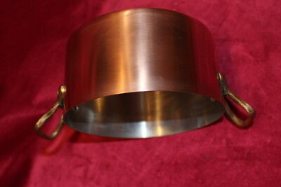 Vintage French Copper pan/ Jam Pot  with 2 brass handles lined great condition