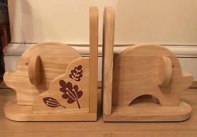 Pair Of Children's Wooden Book Ends - Elephant. Nursery Bedroom Bookshelf