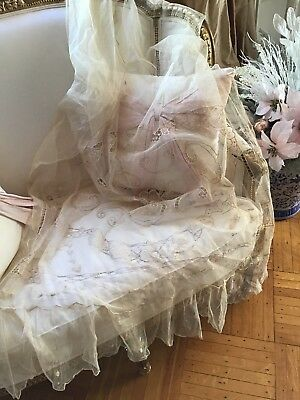 SHABBY Antique Vtg Net Lace Panel Coverlet Twin curtain PANEL LACE VICTORIAN