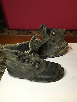 Vintage Antique Black Victorian Leather Baby Boots With 5 Button Closure