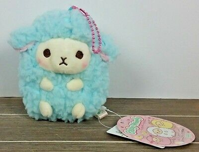 "4"" Blue Cutie Baby Wooly Sheep Stuffed Plush ~ Authentic AMUSE Japan Round 1"