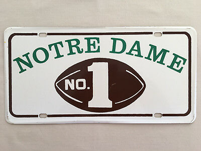 Vintage University of Notre Dame No 1 Football License Plate Unused