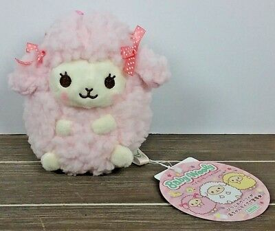 "4"" Pink Cutie Baby Wooly Sheep Stuffed Plush ~ Authentic AMUSE Japan Round 1"
