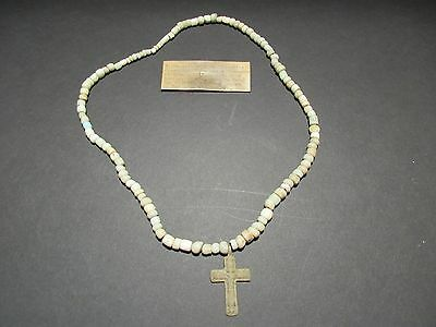 Recovered Russian Artifact Necklace, Byzantine Bronze Cross On Necklace Du-00067