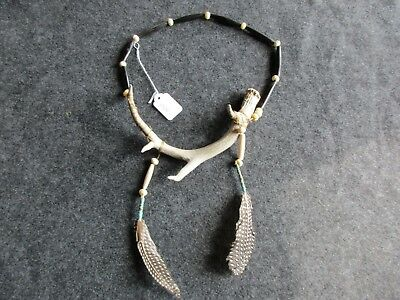 Deer Antler And Buffalo Bone Beaded Native American Indian Necklace, #co V-20