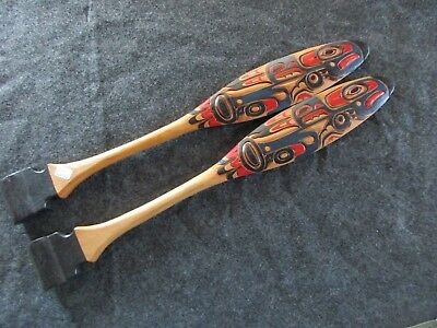 "Northwest Coast Ceremonial ""eagle"" Paddle, Hand Carved & Painted Oar Wy-02478"