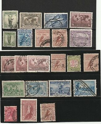Used Australian Pre Decimal Stamps on Card. Lyre Bird etc..