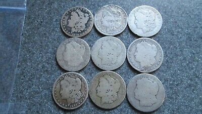 9 - 1879 to 1891'o Morgan SILVER Dollars in JUNK SILVER CULL  condition, 9 COINS