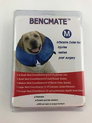 Protective Inflatable Collar for Dogs Size M Medium By Bencmate-Blue