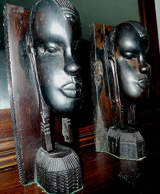 voodoo African Witchdoctor carved ebony, ironwood BOOKENDS, scary for some....