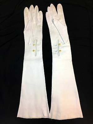 Vintage Long Off White Leather Opera Gloves, Size 8, 20 5/8 Inches Long