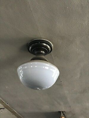 VINTAGE Antique Rustic 1930s Old Light Fixture OPAL MILK GLASS Frosted Globe