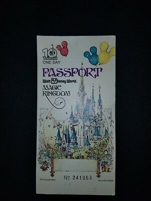 Vintage Walt Disney World 1 Day Passport Good For Admission To Disney And Epcot