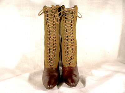 Antique NOS Edwardian Period Olive Green Canvas/Burgundy Leather Lace Up Boots