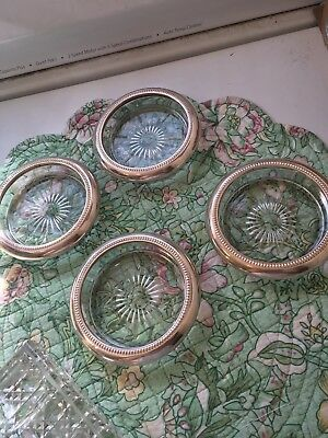 Vintage-Leonard Silver Plate Glass Coasters Made in Italy Set of 4-Great Design