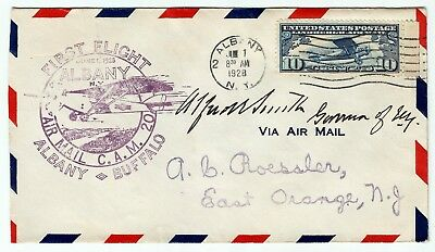 New York Governor Alfred E Smith Autograph - Cam 20 Albany Buffalo First Flight