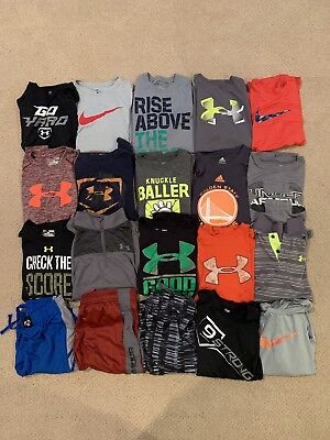 Boys Lot Of 20 Size Large Under Armour Nike Adidas 17 Shirts 3 Shorts