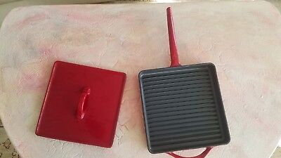 GDL Cast Iron Grill Pan Skillet Square Red Enamel w/ press lid NEW