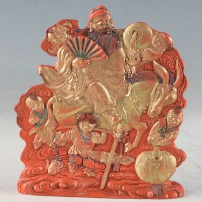 Chinese Cinnabar Hand Carved Statue Made During The DaQing KangXi Period ZJ311