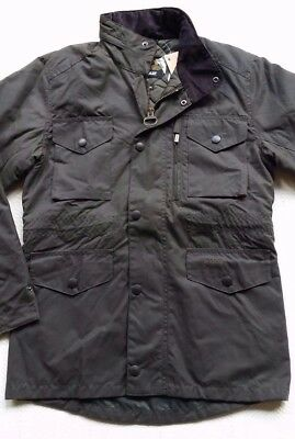 Barbour Sapper Men's Waxed Cotton Insulated  Jacket - Olive, Size Small