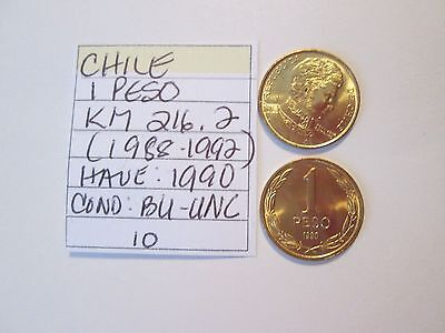 INV # CS2292:  CHILE, 10 coin lot, 1 peso coins, 1990, BU-UNC