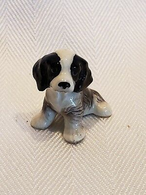 Hagen Renaker English Springer Spaniel Cocker Black White Sitting Puppy Dog