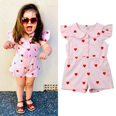USA Kids Baby Girls Valentine's Day Romper Jumpsuit Sunsuit Clothes Outfits 1-5T