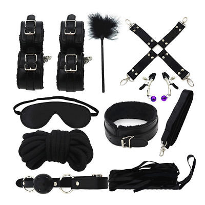 10Pcs Plush Leather Collar Whip Cuffs Rope Restraint System Kit BDSM Toy New
