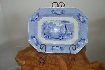 "Antique SIAM Blue & White Ironstone Platter J Clementson 13 5/8"" X 10 3/8"""