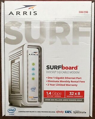 ARRIS SURFboard SB6190 32x8 DOCSIS 3.0 Cable Modem 1.4 Gbps Download Speeds**New