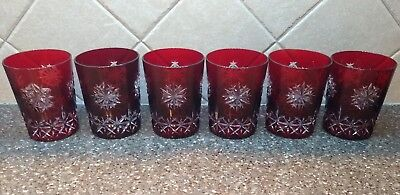 6 Waterford Snow Crystal Double Old Fashioned Glasses Ruby Red Cut To Clear Dof