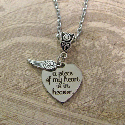 Silver Plate 'A Piece Of My Heart Lives In Heaven' Loss Engraved Necklace WT