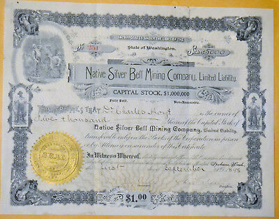 Native Silver Bell Mining Company 1898 antique stock certificate