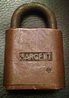 Vintage Antique Sargent Brass Pin Tumblr Padlock Lock Newhaven Ct Usa No Key