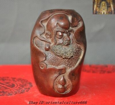 China Yixing Zisha pottery By hand Make carving  Damo Bodhidharma Buddha Statue
