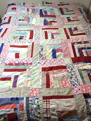 Vtg Quilt Top Scrappy Quarter Log Cabin Unfinished Cutter Hand Stitched Fabric