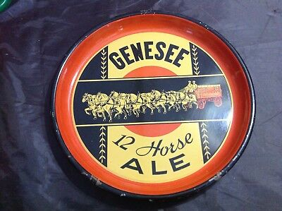 """Vintage 1930's 13"""" GENESEE 12 HORSE ALE Metal Beer Tray Rochester New York"""