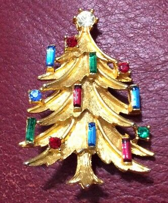 "Manselle Christmas Tree Pin Brooch Multicolored Rhinestones 2"" Tall"