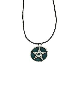 Zac's Alter Ego® Silver Pentagram in Circle Pendant on Wax Cord Necklac
