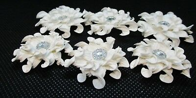 6 Handmade White Paper Flowers......2 Sizes.....cardmaking....scrapbooking