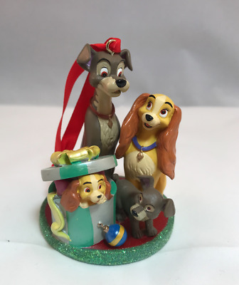Disney Store Lady And The Tramp & Pups 2010 Sketchbook Christmas Ornament Family