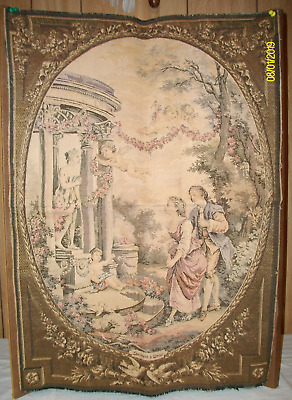 """Vintage French Beautiful Tapestry Wall Hanging """"Serment n Amour"""""""