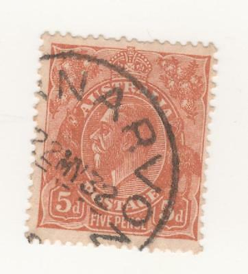 Australia 1930 5d BROWN KGV Small Multi watermark  perf 13.5 x 12.5 stamp USED