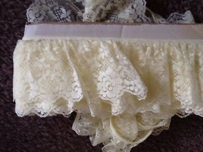 Lace 6 metres X 8cm wide, Lemon, gathered