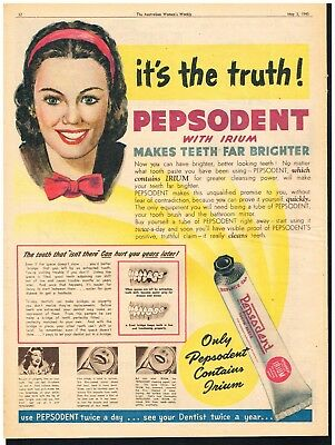PEPSODENT TOOTHPASTE AD DENTAL ADVERTISING Original 1945 Vintage Print Ad*Retro